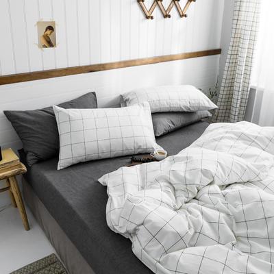2019新款水洗棉1.0-1.5系列 1.5m(5英尺)床 灰白中格