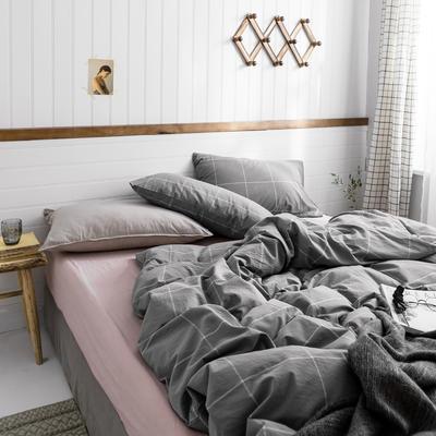 2019新款-全棉色织精梳水洗棉多规格四件套 床笠款三件套1.2m(4英尺)床 灰粉大格 800细节