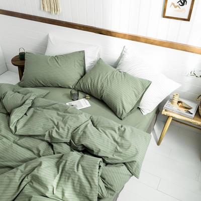 2019新款水洗棉1.0-1.5系列 1.5m(5英尺)床 抹茶细条