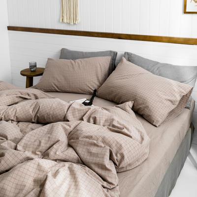 2019新款水洗棉1.0-1.5系列 1.5m(5英尺)床 酡红小格