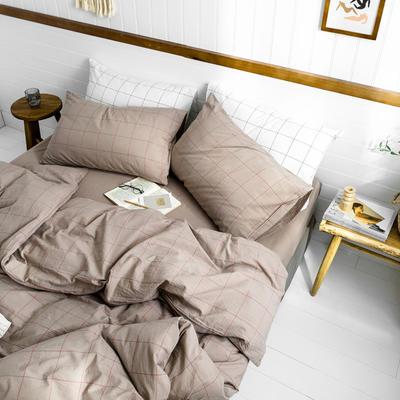 2019新款水洗棉1.0-1.5系列 1.5m(5英尺)床 酡红中格