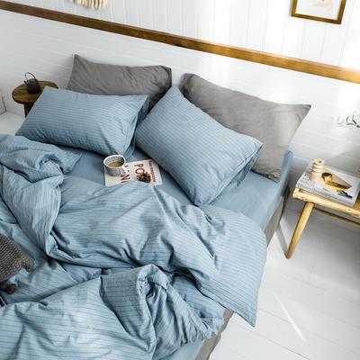 2019新款水洗棉1.0-1.5系列 三件套1.2m(4英尺)床 雾蓝细条