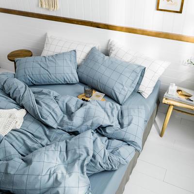 2019新款水洗棉1.0-1.5系列 三件套1.2m(4英尺)床 雾蓝中格