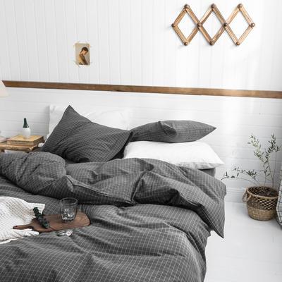 2019新款水洗棉1.0-1.5系列 三件套1.2m(4英尺)床 小灰格