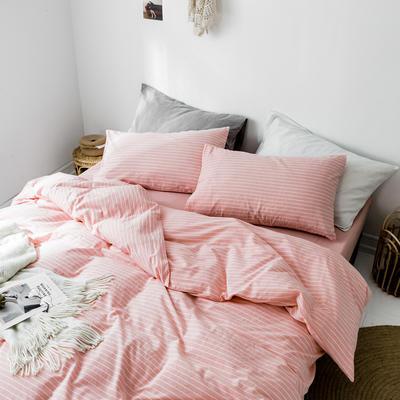 2019新款水洗棉1.0-1.5系列 1.5m(5英尺)床 粉白细条