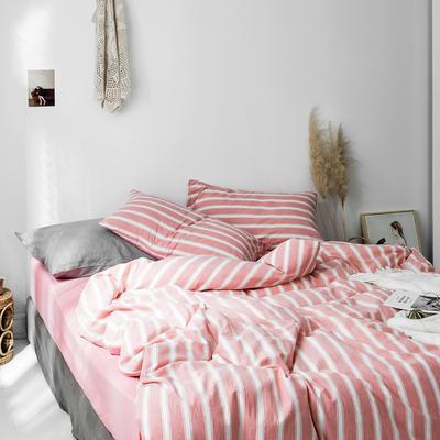 2019新款水洗棉1.0-1.5系列 1.5m(5英尺)床 粉竖条