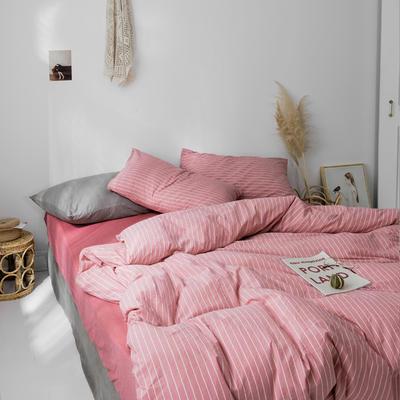 2019新款水洗棉1.0-1.5系列 1.5m(5英尺)床 红竖细条