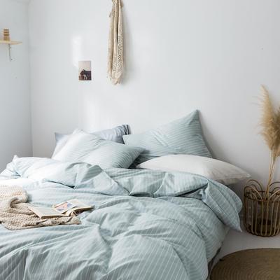 2019新款水洗棉1.0-1.5系列 1.5m(5英尺)床 蓝竖细条