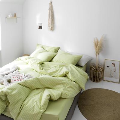 2019新款水洗棉1.0-1.5系列 1.5m(5英尺)床 绿竖细条
