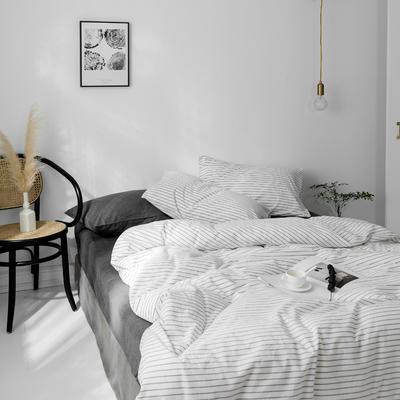 2019新款水洗棉1.0-1.5系列 1.5m(5英尺)床 雅白细条