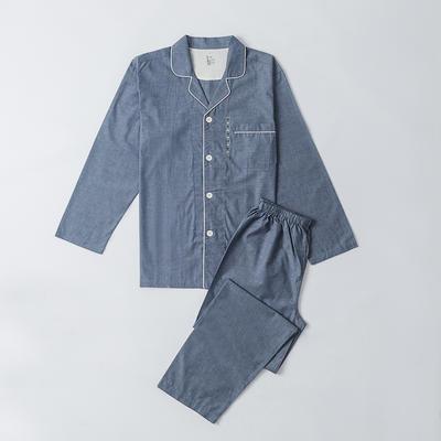 2019新款-单层纱情侣长袖套装 M 单层纱长锈套装男 灰