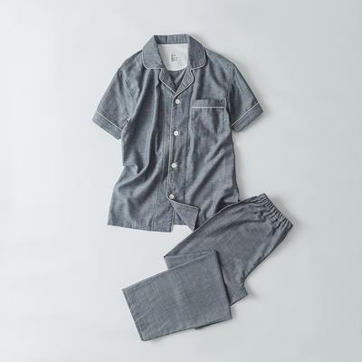 2019新款-双层纱短袖情侣 XL 短袖套装男款   灰色