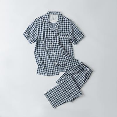 2019新款-双层纱短袖情侣 M 短袖套装男款    蓝色小格