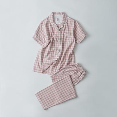 2019新款-双层纱短袖情侣 M 短袖套装女款    粉色小格