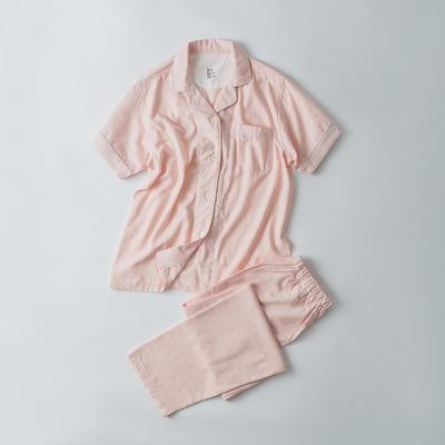 2019新款-双层纱短袖情侣 M 短袖套装女款   粉色