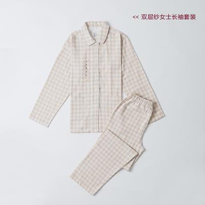2019新款-双层纱情侣长袖套装 M 米黄小格  女款