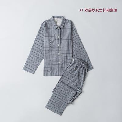 2019新款-双层纱情侣长袖套装 M 烟灰方格  女款