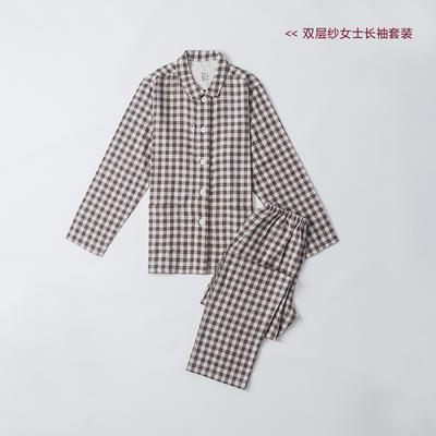 2019新款-双层纱情侣长袖套装 M 棕色小格  女款