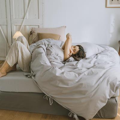2019新款-水洗棉绑带款四件套 床单款1.8m(6英尺)床 流沙灰