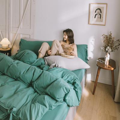 2019新款-水洗棉绑带款四件套 床单款1.5m(5英尺)床 森绿