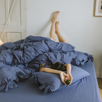 2019新款-水洗棉绑带款四件套 床单款1.8m(6英尺)床 月光蓝