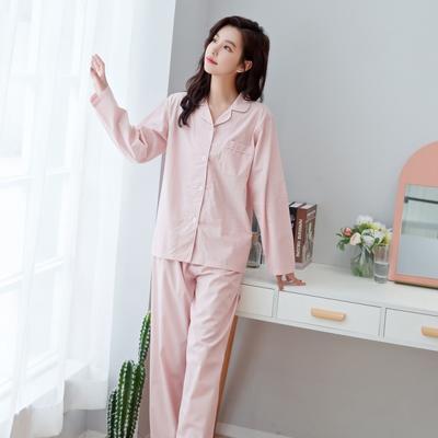 2019新款-家居服纯色单层纱 男款 XL 粉色 女
