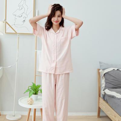 2019新款-家居服短袖 女款M 女款纯色粉色