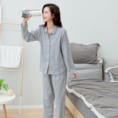 2019新款-家居服小小格系列 男款 XL 蓝色小小格女款