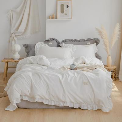 2020新款水洗棉四件套 洛丽塔荷叶边系列四件套 1.8m床单款 白