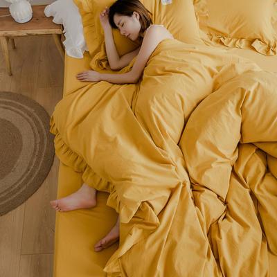 2020新款水洗棉四件套 洛丽塔荷叶边系列四件套 1.5m床单款 姜黄
