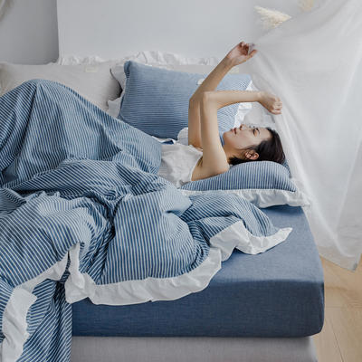 2020新款水洗棉四件套 洛丽塔荷叶边系列四件套 1.8m床单款 蓝细条