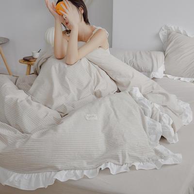 2020新款水洗棉四件套 洛丽塔荷叶边系列四件套 1.8m床单款 米细条