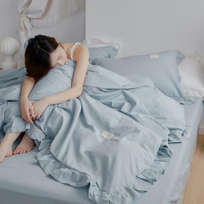 2020新款水洗棉四件套 洛丽塔荷叶边系列四件套 1.8m床单款 浅蓝