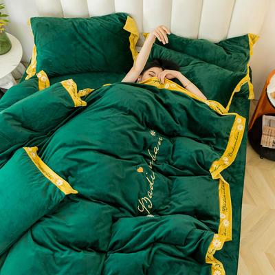 2019冬款 高克重超柔保暖水晶绒刺绣款 1.5m(5英尺)床 孔雀绿