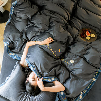 2019冬款 高克重超柔保暖水晶绒刺绣款 1.5m(5英尺)床 格调灰