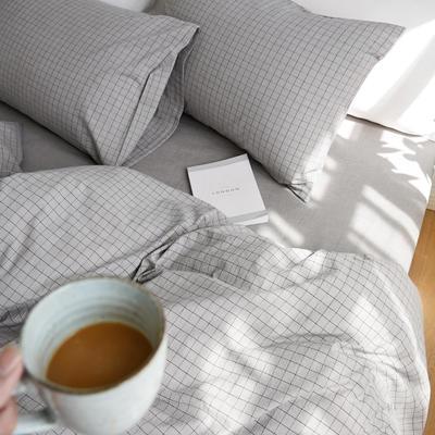 2020春夏新品水洗棉基础款2.0系列 标准床单款 烟灰小格