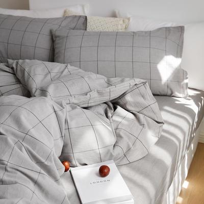 2020春夏新品水洗棉基础款2.0系列 标准床单款 烟灰中格