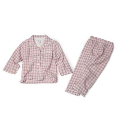 双层纱儿童家居服 100 粉红格