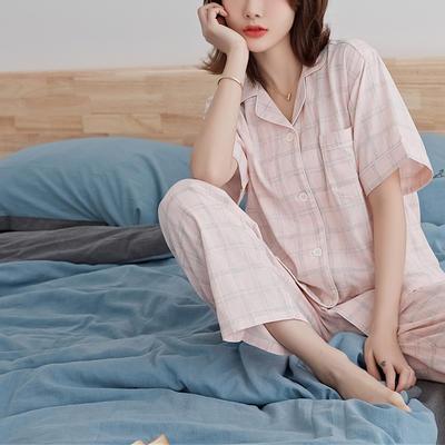 2020新款-家居服短袖 x 麻灰粉格 女款短袖