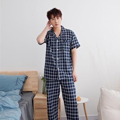 2020新款-家居服短袖 x 麻灰蓝格 男款短袖