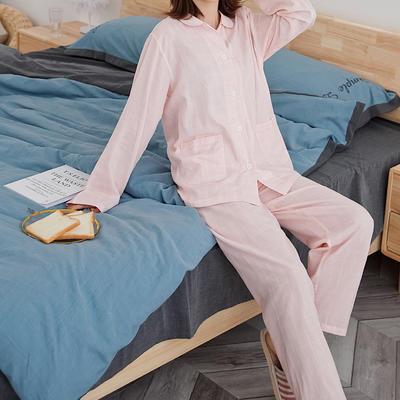 2020新款-家居服长袖 x 粉白方格 长袖女款