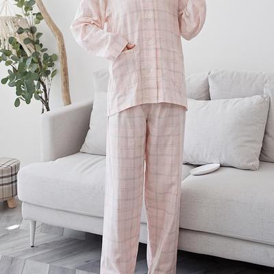 2020新款-家居服长袖 x 麻灰粉格 长袖女款