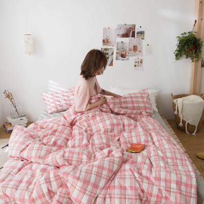2020新款- ins水洗棉四件套 小小号床单款(0.9米床) 草莓格