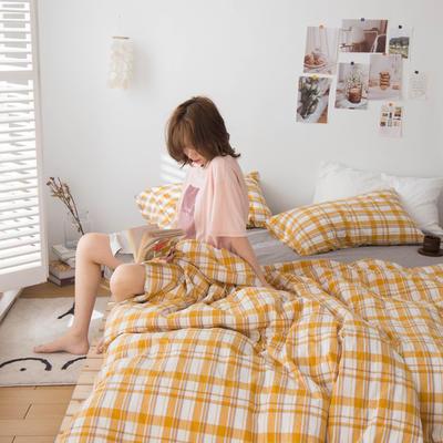 2020新款- ins水洗棉四件套 小小号床单款(1.2米床) 芒果格