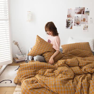 2020新款- ins水洗棉四件套 小小号床单款(0.9米床) 南瓜格