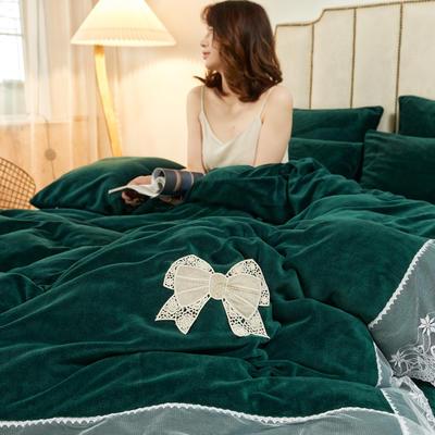 2020新款-牛奶绒蕾丝四件套 1.8m床单款四件套 墨绿