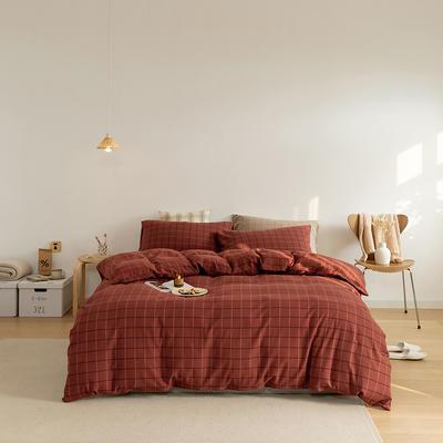 2021秋季 纯棉色纺法兰绒四件套 1.8m床单款 棉法兰绒-棕红