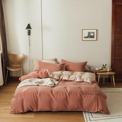 云上2021 60s水洗棉刺绣双拼四件套 加大床单款 60s枫叶拼米驼