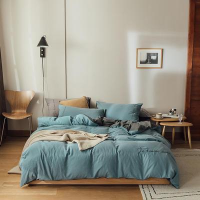 云上2021 60s水洗棉刺绣双拼四件套 加大床单款 60s海蓝拼深灰