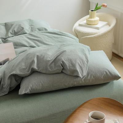 2021新款全棉32S色织精梳水洗棉极细条纹款—单枕套 48cmX74cm/对 绿色极细条纹